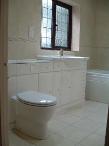 Rhodes fitted bathroom furniture, fully tiled
